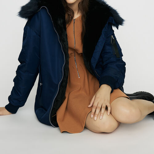 Long parka-style teddy : Coats color Blue