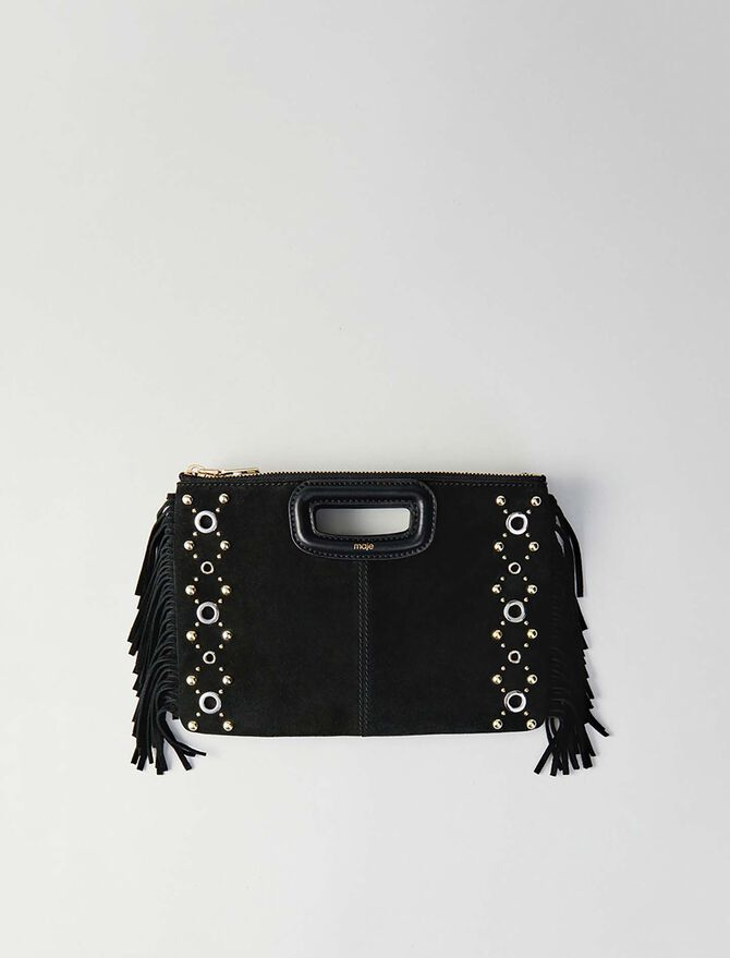 Suede M Duo purse with eyelets - M Duo - MAJE