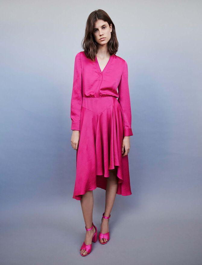 Asymmetrical satin dress - Best Sellers - MAJE