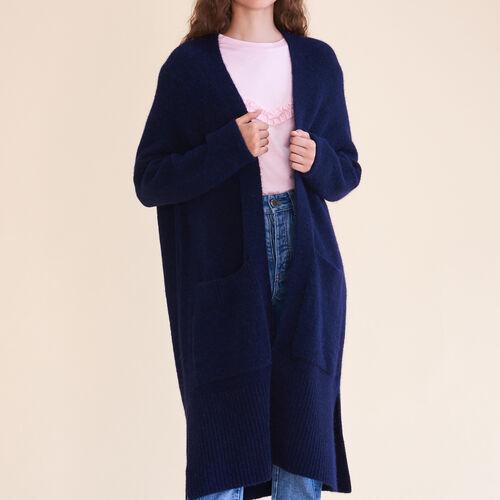 Long oversized cardigan : Sweaters & Cardigans color Caramel
