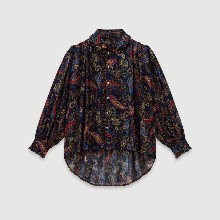 Printed cotton shirt : Tops & Shirts color Navy