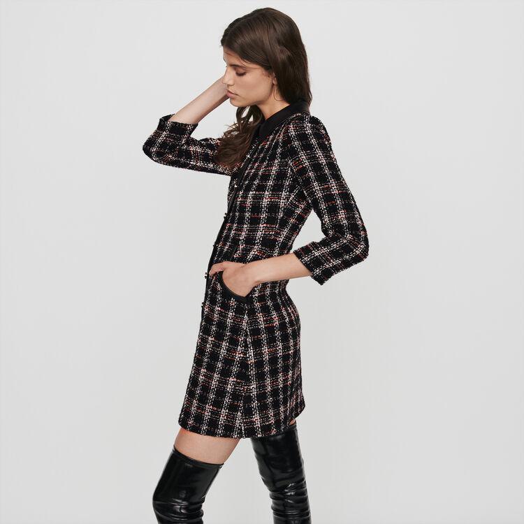 Tweed-style contrast dress : Dresses color Black