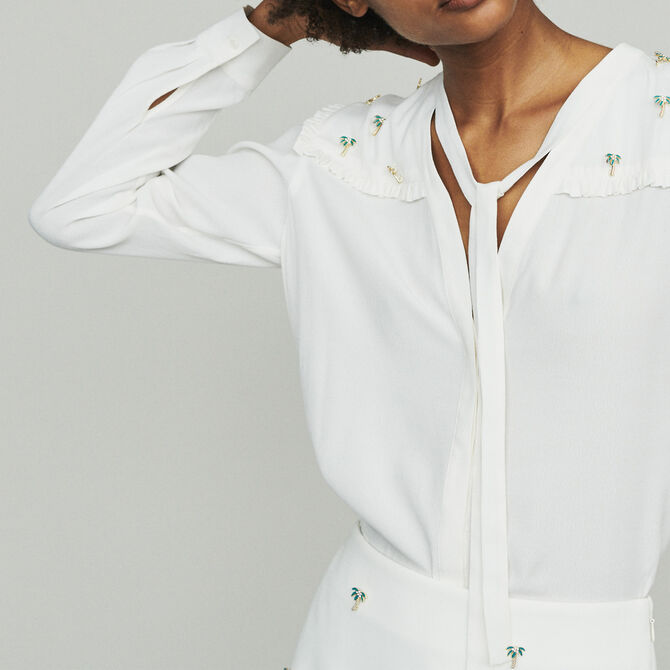 Crepe blouse with palm jewels - See all - MAJE