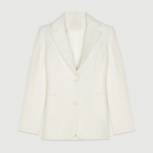 Tailor's jacket in mixed linen : See all color White