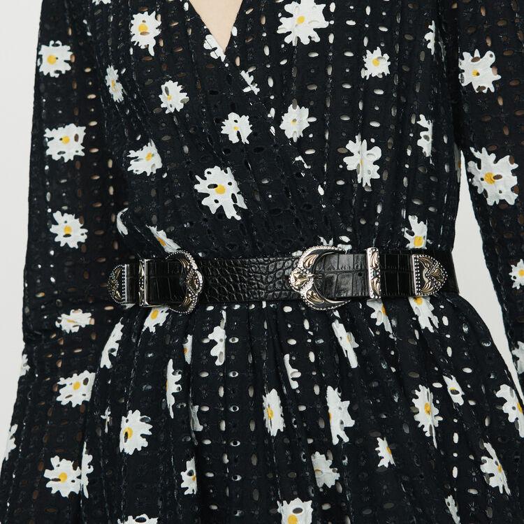 Double scalloped buckle leather belt : Belts color Black