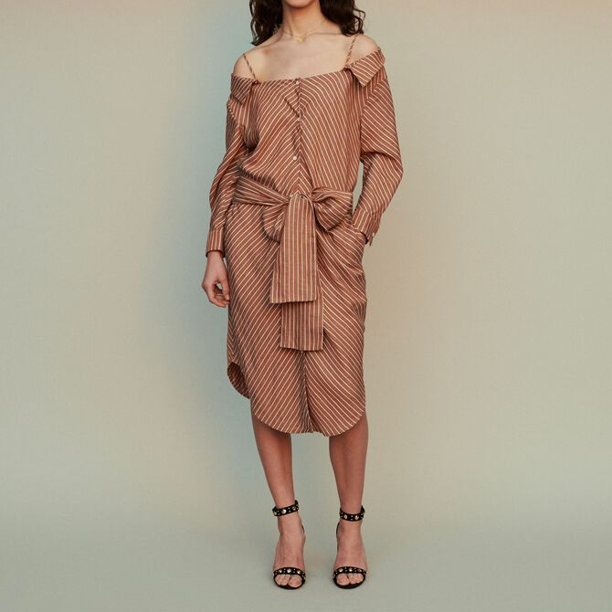 Striped shirt dress with bare shoulders - See all - MAJE