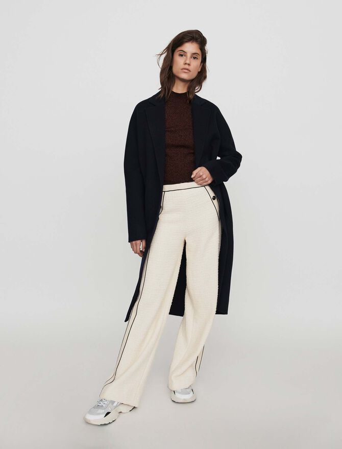 Tweed-style contrast wide-leg pants - Trousers - MAJE