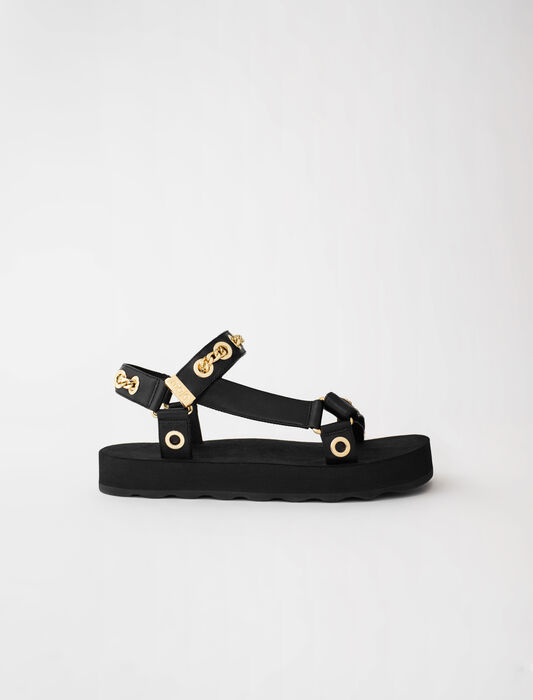 Leather sandals with eyelets and chain : Slipper color Black