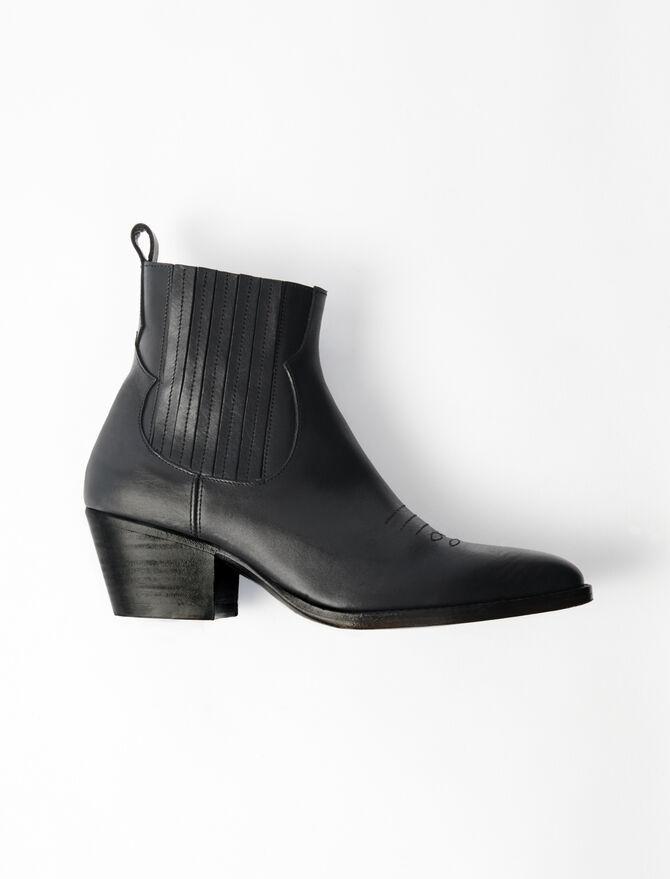 Bottines en cuir à découpes western - Chaussures_Toutvoir - MAJE