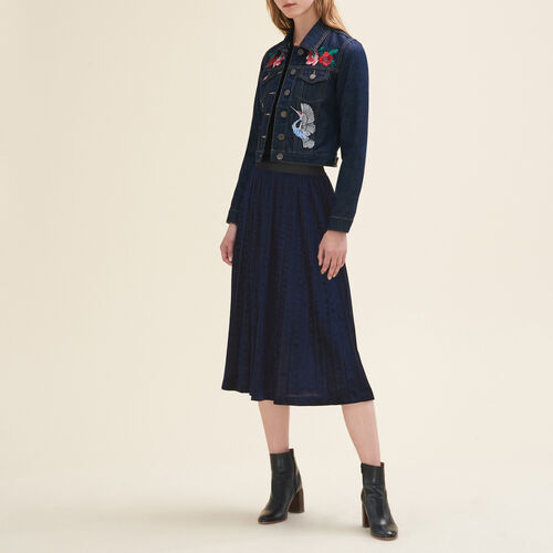 Pleated midi-length skirt : Skirts & Shorts color Night