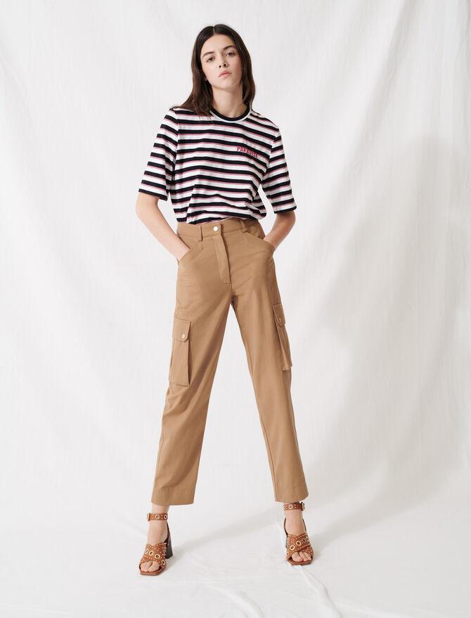 Pantalon en coton camel - Pap_Pantalons-Jeans - MAJE