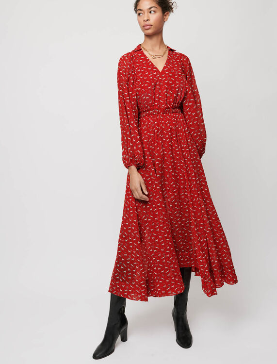 Horse-print muslin dress - Dresses - MAJE