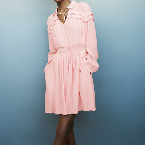 Short crepe dress with ruffles : Dresses color PURPLE