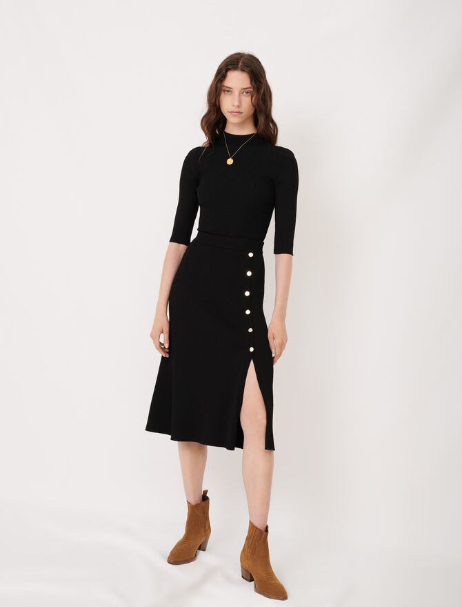 Knitted midi skirt with slit and buttons - Skirts & Shorts - MAJE