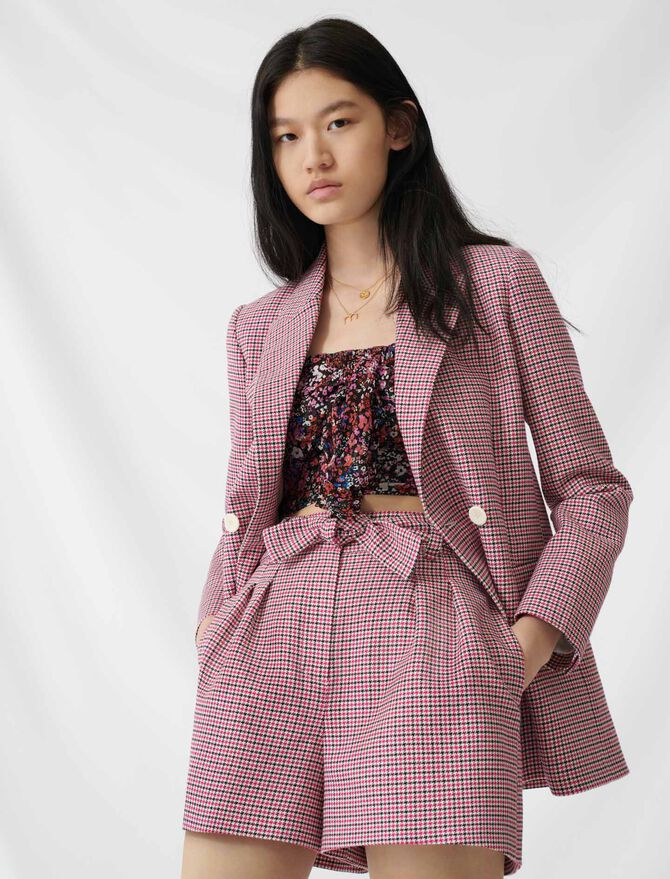 Checked straight double-breasted jacket - Blazers - MAJE