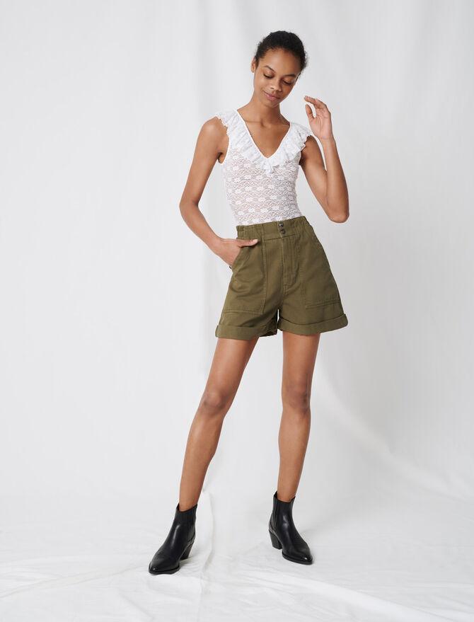 Khaki cotton canvas shorts - Skirts & Shorts - MAJE