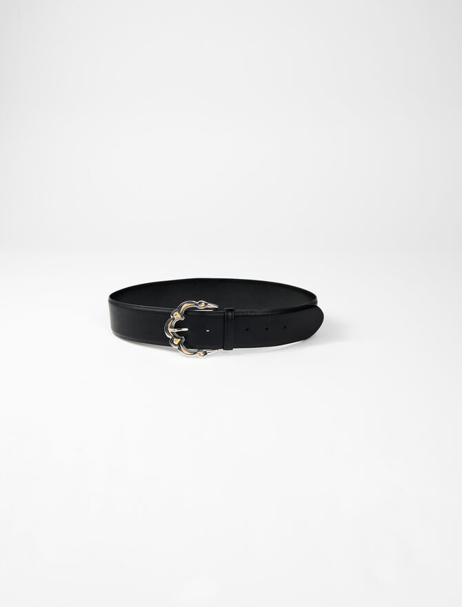 Wide leather belt with Berber buckle - Belts - MAJE
