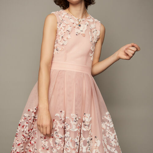 Sleeveless basket weave dress : Dresses color Pink