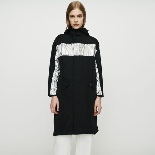 Long parka with inlaid bands : New in : Summer Collection color Black 210