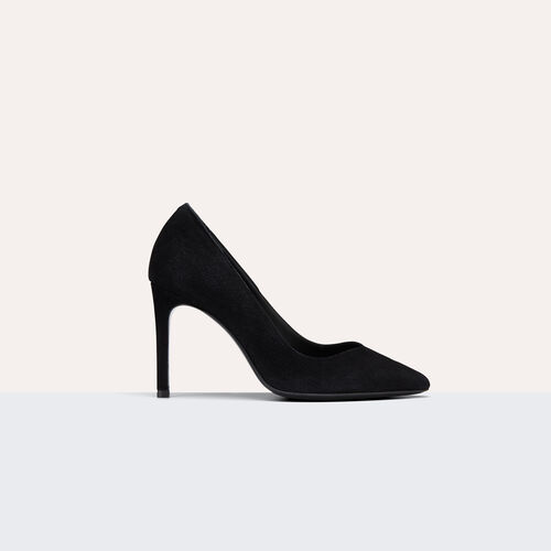 High-heeled suede court shoes : Accessoires color Black 210
