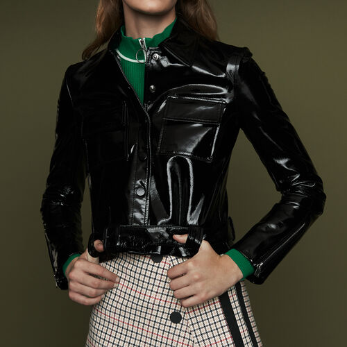 Cropped faux leather jacket : Jackets color Black 210