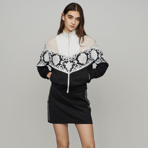 Zipped sweatshirt with python print band : Pullovers & Cardigans color Printed