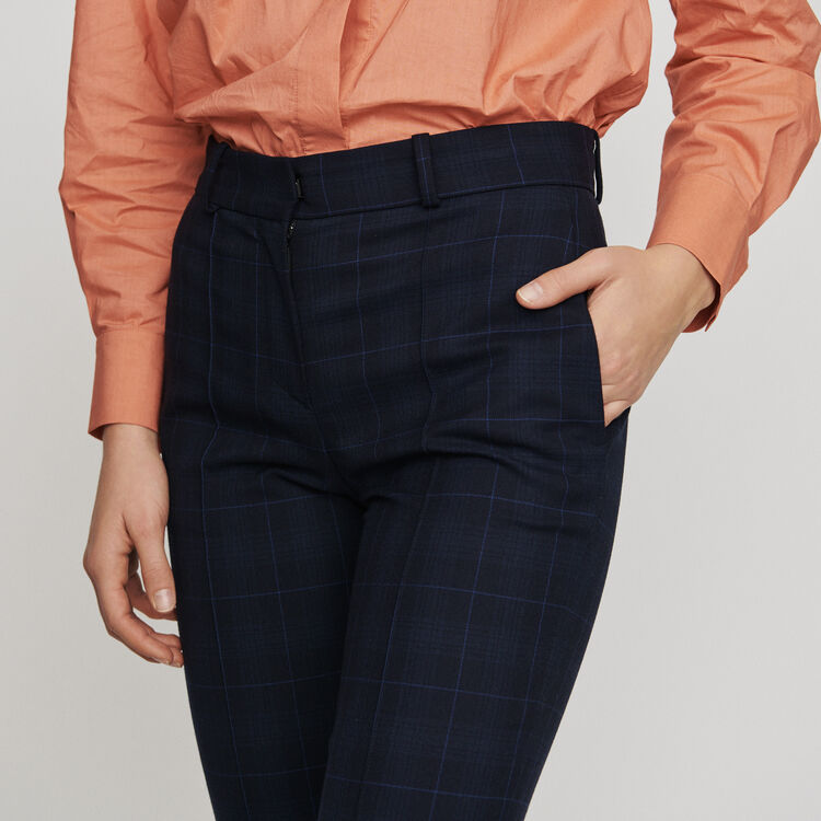 7/8 plaid trousers : Trousers color Navy