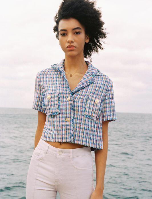 Veste à manches courtes façon tweed : Pap_Tops-Chemises couleur MULTICOLOR