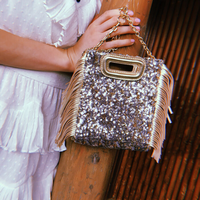 Mini M bag in sequins with chain : M Mini color Gold