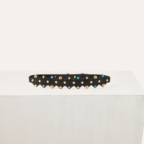 Leather belt with studs : Belts color Two-Tone