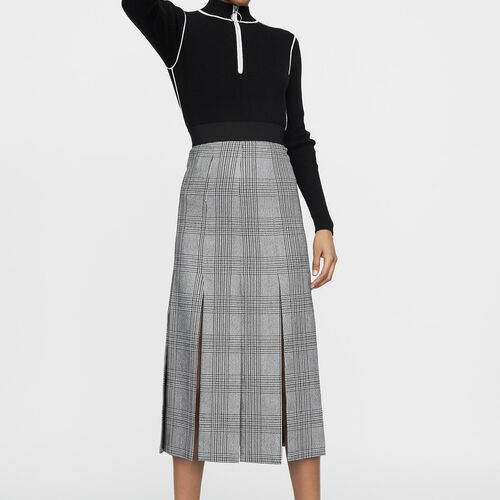 Long Prince of Wales check cutout skirt : Skirts & Shorts color CARREAUX