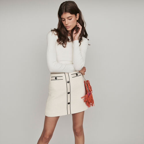 Tweed-style contrast pencil skirt : Winter collection color Ecru