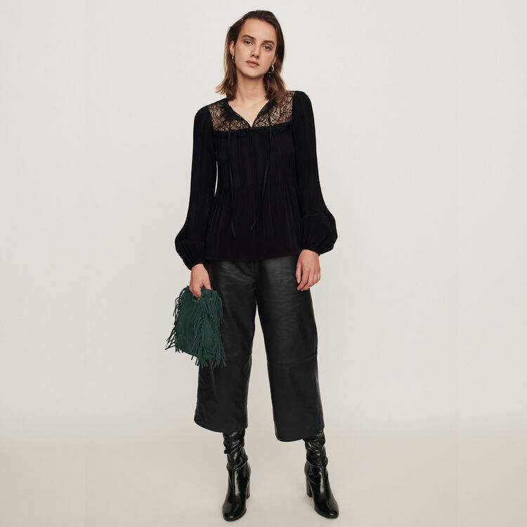 Pleated top with lace trim : Tops & Shirts color Black