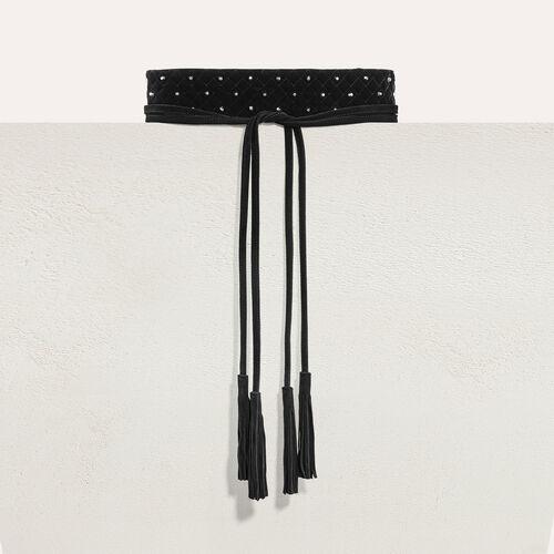 Wide tie belt with studs : Belts color Navy