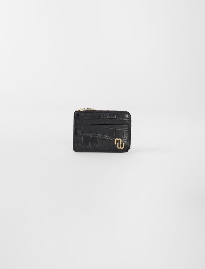 Porte-carte zippé en cuir embossé -  - MAJE