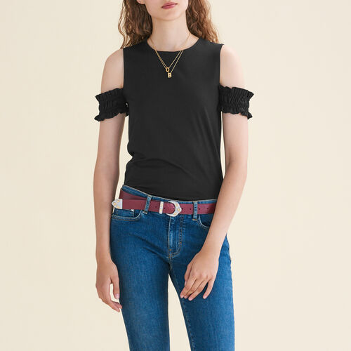 Off-the-shoulder sleeveless top : Tops color Black 210