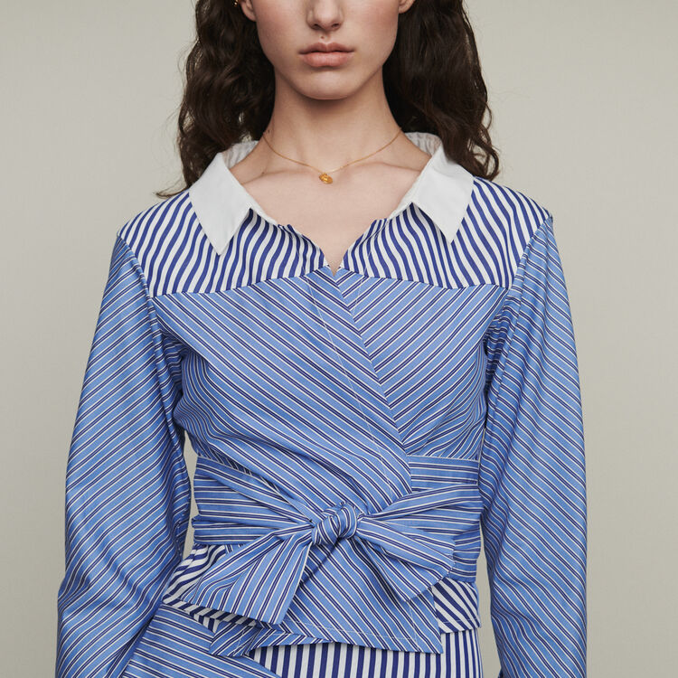 Cropped shirt-style top with tie : Tops color Stripe