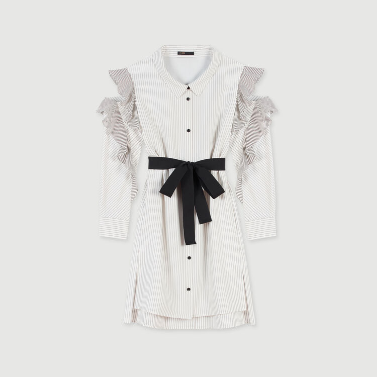 Striped ruffled shirt dress : Dresses color White / Black