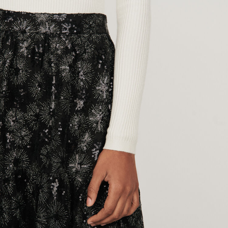 Sequin-embroidered tulle skirt : Skirts & Shorts color Black
