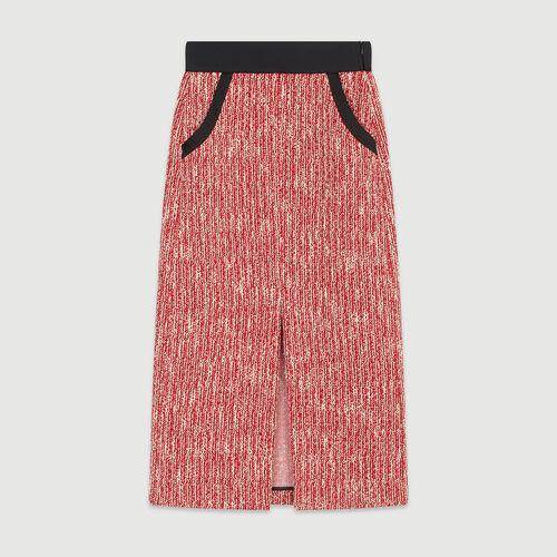 Jupe midi façon tweed : Pap_Jupes-Shorts couleur ROUGE