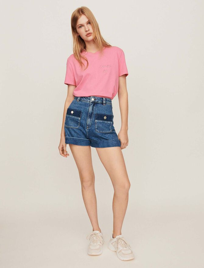 Wide jean shorts with pockets - Skirts & Shorts - MAJE