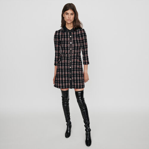 Tweed-style contrast dress : Dresses color Black