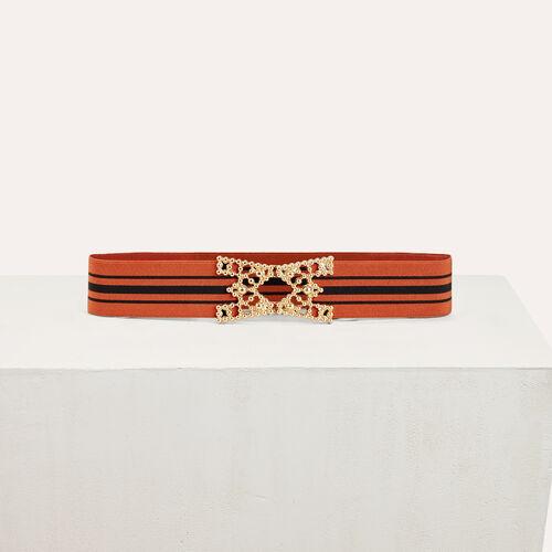 Wide elasticated belt with stripes : Accessoires color Brick