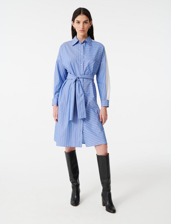 Shirt dress with printed stripes - Dresses - MAJE