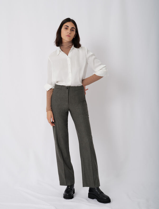 Straight cut tennis stripe trousers - Trousers & Jeans - MAJE