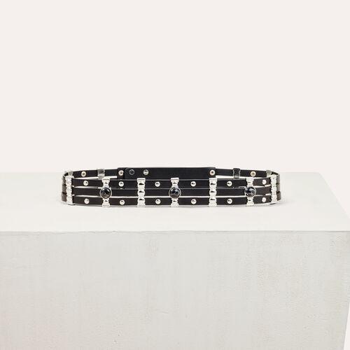 Leather belt with stones : Belts color Black 210