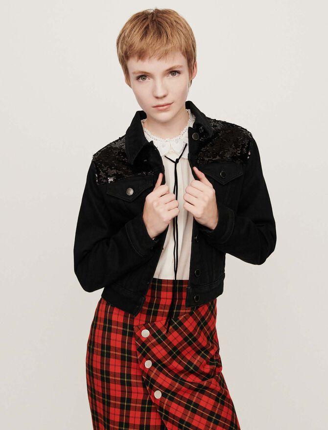 Sequin-embroidered jean jacket - SoldesFR_ALL - MAJE