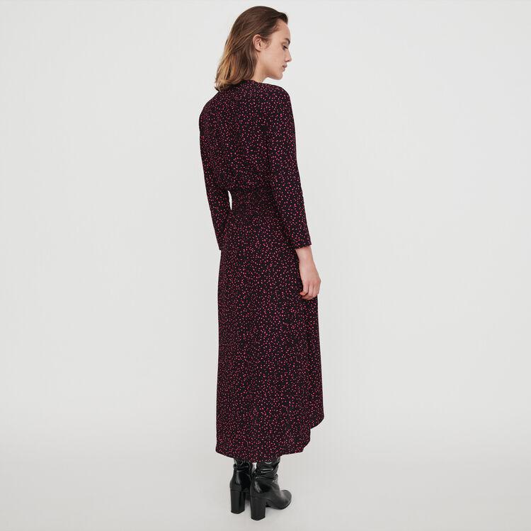 Printed-crepe smock dress : Dresses color Black