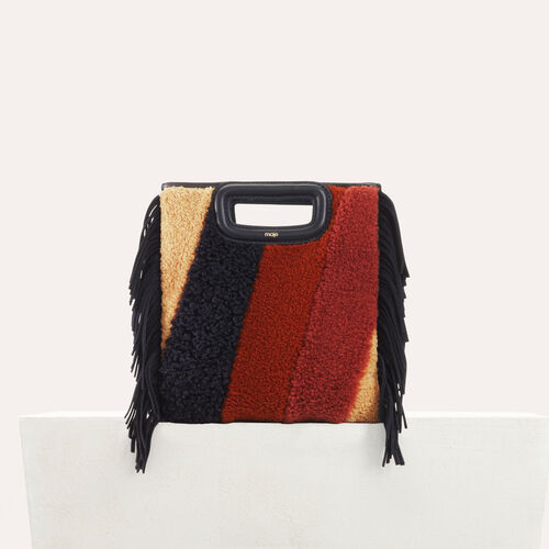 M bag in shearling and leather : Leather color Multico