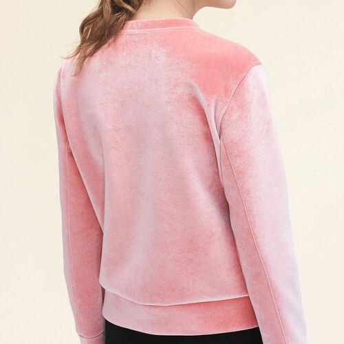 Straight-cut velvet sweatshirt. : Sweaters & Cardigans color Pink